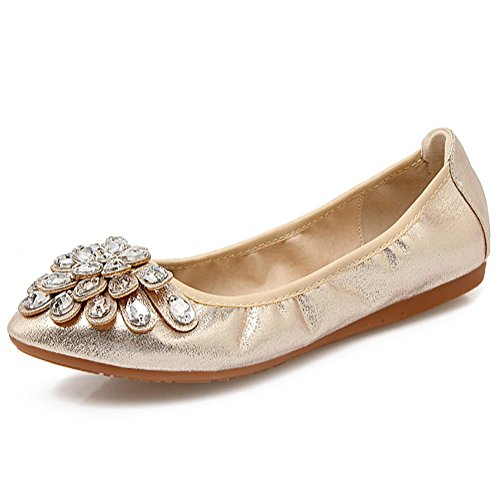 Meeshine Womens Foldable Soft Pointed Toe Ballet Flats Rhinestone Comfort Slip on Flat Shoes(6...