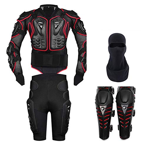 TZTED Motorrad Protektorenjacke Protektorenhemd Motorrad Protector Professionelle Street Motocross Guard Shirt Jacke mit Rückenschutz,Rot,S