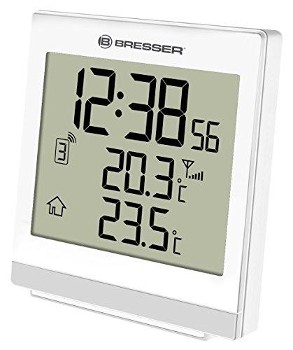 Bresser Wetterstation Funk mit Außensensor Temeo SQ mit automatischer Zeitanzeige, LED Hintergrundlicht, Anzeige der Innen und Außentemperatur mit Weck- und Schlummerfunktion, weiß