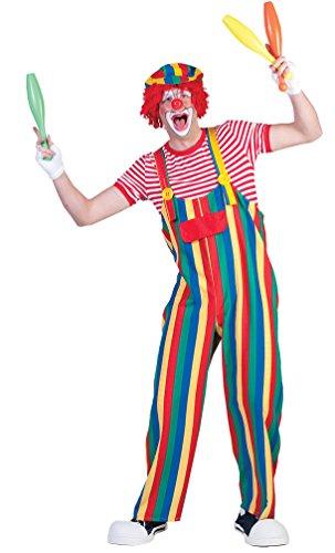 Karneval-Klamotten Clown-Kostüm Herren Clown-Latzhose bunt gestreift Männer Clown-Latzhose Herren-Kostüm Größe 48/50