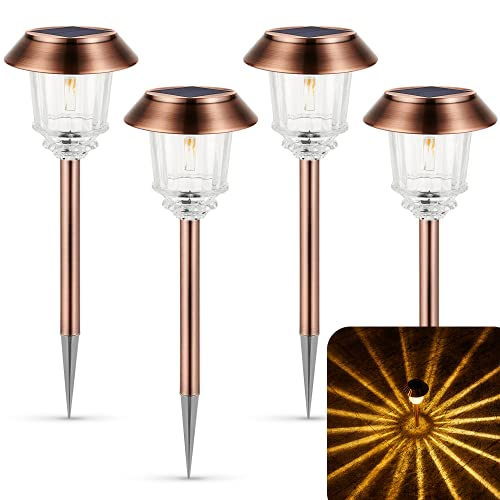 XMCOSY+ Solar Pathway Lights Solar Powered 4 Pack Landscape LED Solar Pathway Lights Outdoor IP65 Waterproof & 10-40 Lm Dimmable & Auto On/Off Warm White Walkway Lights for Garden, Path, Driveway