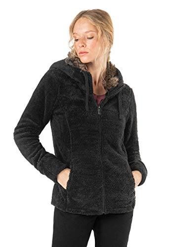 Sublevel Damen Fleece-Jacke mit Kunstfell & Teddy-Fleece Black M