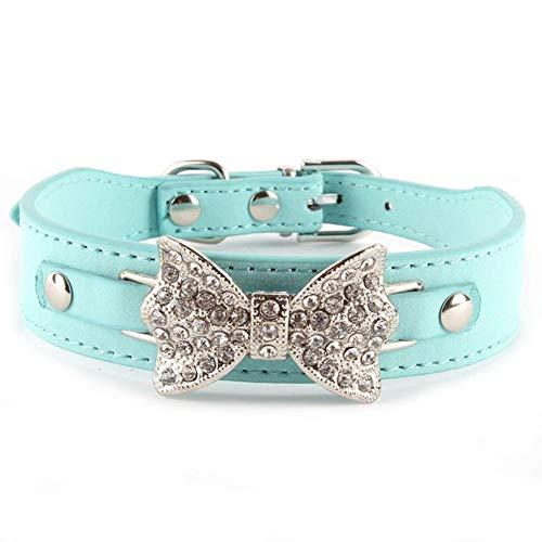 GOUSHENG Comfortabele Bling Diamant Kristal Hond Kraag Strik Pu Lederen Huisdier Verstelbare Kraag Puppy Kat Choker Aa Z, S, Blauw