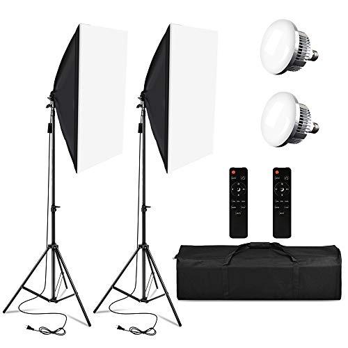 Softbox-Beleuchtungsset,Professionelles Studio Kontinuierliche Ausrüstung mit 2M Lichtstativ, 3200-5500K Dreifach-LED-Lampe mit Fernbedienung für Photo...