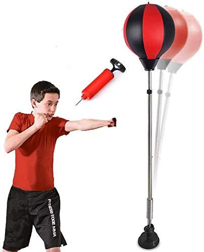 Qdreclod Punching Ball, Saco de Boxeo de pie, Bola de Velocidad con Tubo Inflable Set de Boxeo Pelota para Adultos Niños