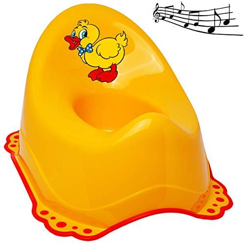 alles-meine.de GmbH Musik & Sound - Anti RUTSCH - Töpfchen / Nachttopf / Babytopf - gelb _ Tiere - Ente _ Bieco - Melody - mit großer Lehne + Spritzschutz - rutschfest antirutsch..