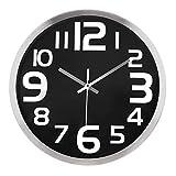 Lafocuse Reloj de Pared Silencioso Metal Industrial Reloj Cuarzo con Grandes Números Clasico Negro para Salon Comedor Dormitorio 30 cm