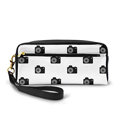 Tragbares PU-Leder Federmäppchen – Kamera Vector Kosmetik Make-up Tasche – Mode Schule Bleistifthalter mit Reißverschluss