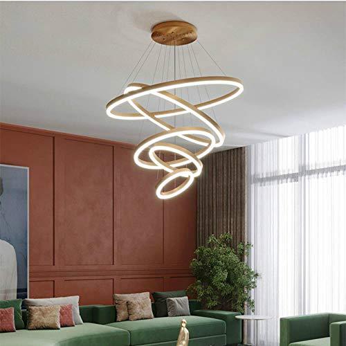 Araña moderna para sala de estar Comedor Araña de metal Iluminación Colgante Oro 5 Anillos circulares Lámpara Lampare deco tech, Acabado en oro, 40 60 80cm 3 anillos