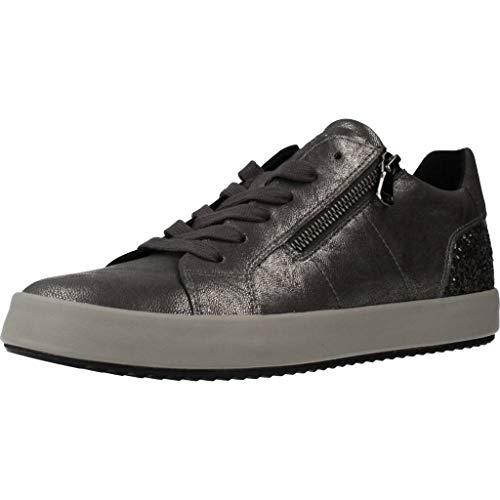 Geox Donna Sneaker BLOMIEE, Signora Scarpe Stringate Basse,Lacci,Scarpe da Strada,Sneaker,Scarpe Stringate,Sportivo,Elegante,Casuale,Grau,36 EU / 3 UK