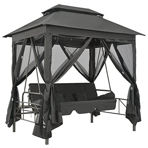 vidaXL Hollywoodschaukel Dach Bettfunktion Gartenschaukel Schaukelbank Liege
