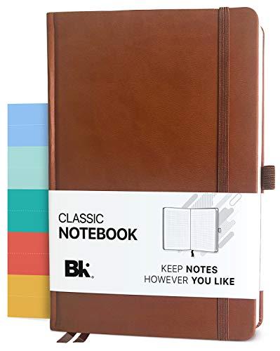 Klassisches Executive-Notizbuch, Kompositions-Journal mit 5 Trennwänden – Premium veganes Leder Hardcover (gepunktet oder liniert) (braun, liniert)