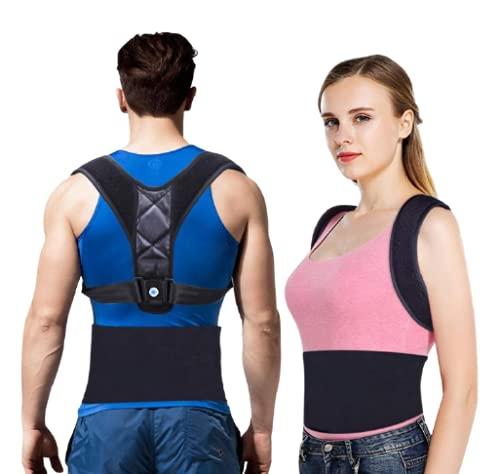 Corrector de Postura Espalda y Hombros, Soporte de Espalda Negro Transpirable y Ajustable, Lograr Espalda Recta Unisex, Alivia Dolor de Espalda, Cuello y Hombros