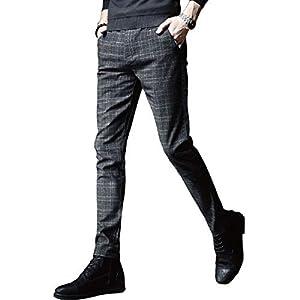 ゴルフ パンツ メンズ ストレッチ チノパン チェック ズボン スリム スキニーパンツ カジュアル 細身 美脚 ストリート ジーンズ ロングパンツ ビジネスパンツ32 2020 / ブラック