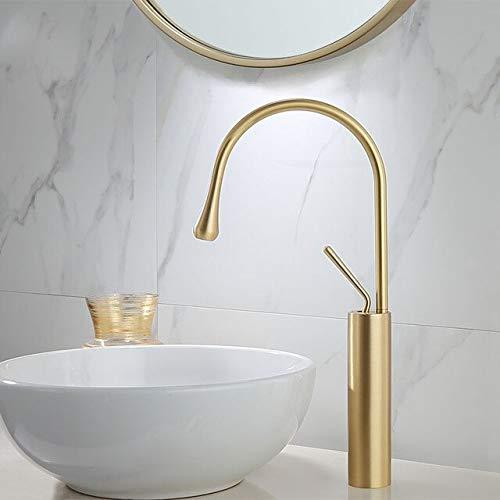 BDWS Grifo para lavabo dorado cepillado, palanca de rotación 360, mezclador de latón, para cocina, fregadero de baño frío y caliente, fregadero Federación de Rusia Brushed Gold A3