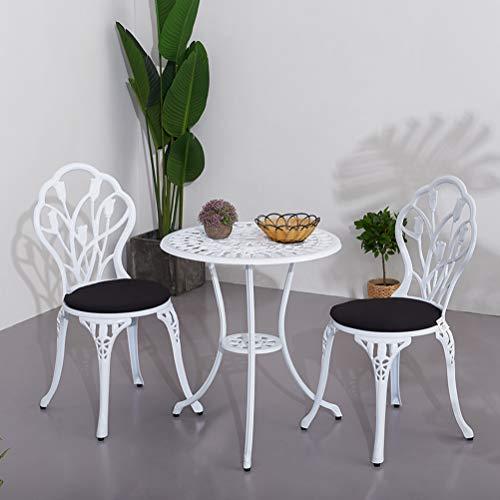 Zhyaj Juego De Muebles De Patio Blanco - Juego De Mesa Y Sillas De Jardín Bistro - Muebles De Balcón De Aluminio Fundido - con Cojines