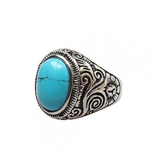 Amesii - Classico anello da uomo in stile vintage, con grande turchese e fascia in acciaio INOX intagliata  e Lega, 30, colore: 13, cod. AME