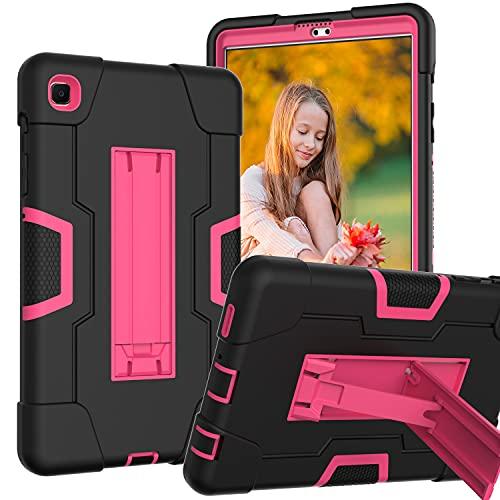 Galaxy Tab A7 Lite 8.4 pulgadas 2021 funda para Samsung T220 T225 resistente a los golpes, carcasa protectora completa para tablet (negro+rojo rosa)