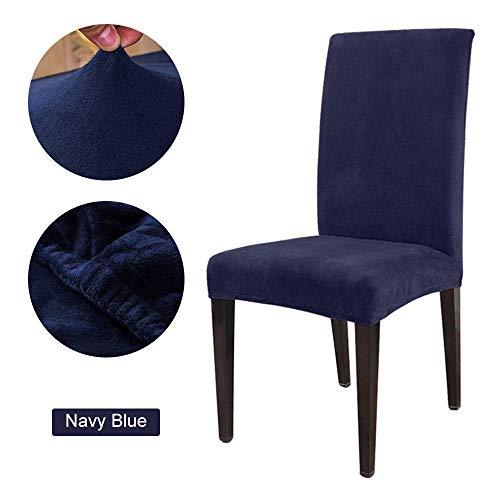 Anoauit 1 / 2 / 4 / 6 stoelhoezen, eenkleurig, elastisch, afneembaar, zacht, fleece stof, vos, eetkamer, stoelhoezen voor armleuningen, 15 kleuren