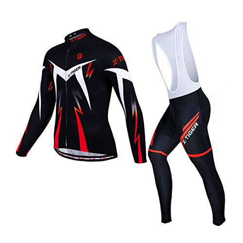 X-TIGER Completo Salopette de Ciclismo Abbigliamento Set Vello Maniche Lunghe Ciclismo Maglia + 5D Pettorina Pantalone Imbottito