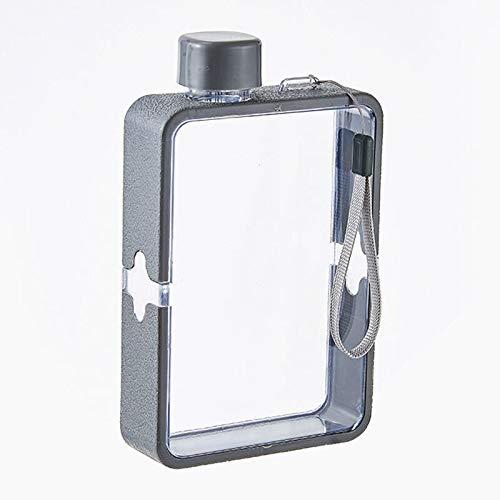 MORANGO Botella de Agua Plana A5, Botella de Agua Reutilizable, Botella Portátil Transparente de Plástico para Deportes, Acampar, Gimnasio, Fitness al Aire Libre (Gris)