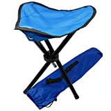 BALU AND CREW Taburete plegable de camping con 3 patas, para pesca, pequeño y ligero, para camping al aire libre (azul)
