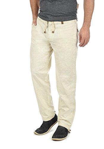 Pantalon lin pantalon long pantalon tissu confortable en lin mélangé de haute qualité Indicode Ives - Blanc - W50