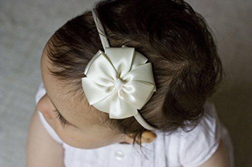 Rayon d'or Ivoire Flower Girl Bandeau – Ivoire Kate Nœud faite à la main Bandeau – au bébé Adulte Bandeau – Bandeau de baptême