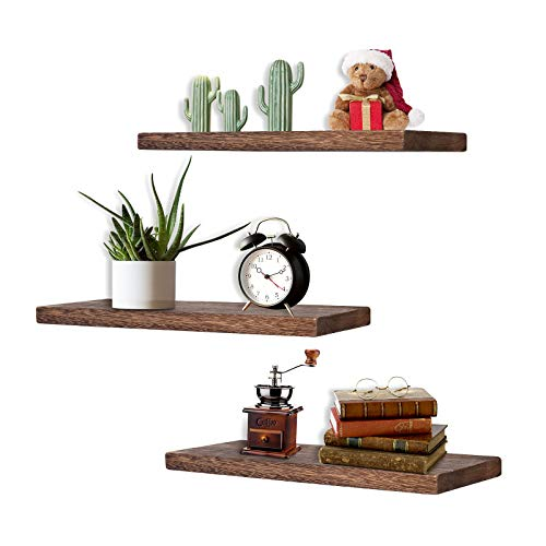Rustic Wooden Floating Shelves, Wall Mounted Display Ledge Storage Rack, Set of 3 Home Decorations Wall Shelf for Living Room, Bathroom, Bedroom, Office and Kitchen
