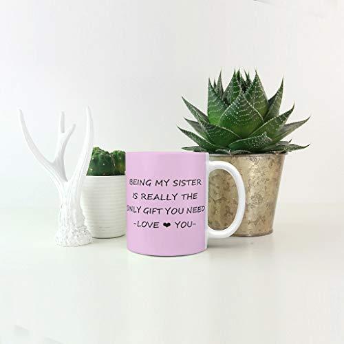 Lind88 Cadeaus voor Zuster Brewing Cacao Mok Cup met Handvat Keramische Humor Cup - Het Zijn Mijn Zuster is de enige Gift Hanukkah Geschenken, Pak voor Office-gebruik (11 Ounce)
