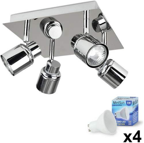 Modern Polished Chrome Square Plate Adjustable IP44 Bathroom 4 Way Ceiling Spotlight - Complete with 4 x 5W Warm White GU10 LED Bulbs