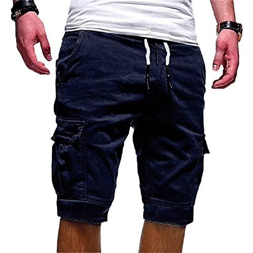 N\P Pantalones cortos para hombre Ejército Pantalones cortos de carga para, Azul marino/flor y brillo, 4X-Large