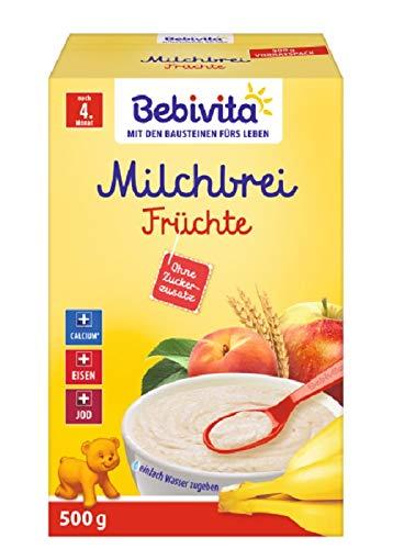 Bebivita Milchbreie ohne Zuckerzusatz-Großpackung, Milchbrei Frucht, 4er Pack (4 x 500 g)