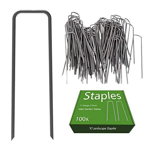 OuYi 100 Grapas de sujeción Planta de anclaje - 150 x 25 x 3,0 mm los picos de tierra de acero para la tela de control de malezas