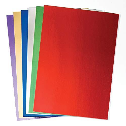 Baker Ross AC374 Cartulina A4 Metalizada en 6 Colores (Paquete de 2) Para manualidades invernales de adultos y niños