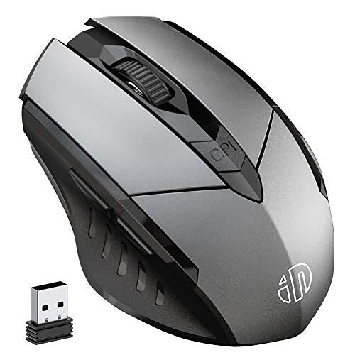 INPHIC Kabellose Maus Wiederaufladbare, Ergonomische 2,4G Optische Funkmaus mit USB Nano Empfänger für Laptop, PC, Computer, MacBook,Windows, 6 Tasten, Grau