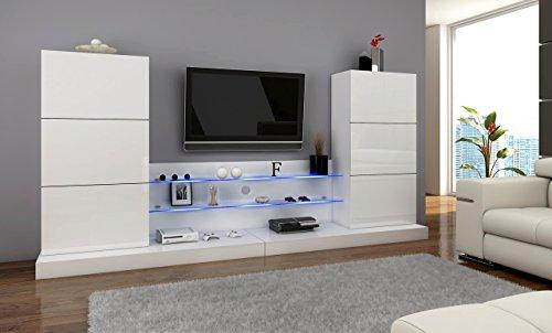 Wohnwand ULM Anbauwnad Wohnzimmer set mit LED beleuchtung