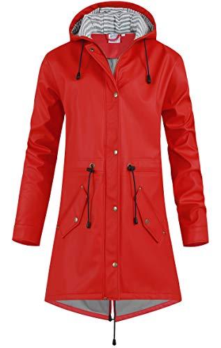 SWAMPLAND Damen PU Regenjacke Mit Kapuze Wasserdicht Übergangsjacke Regenmantel, Rot mit Fleece, Gr.- 46 EU/ 2XL