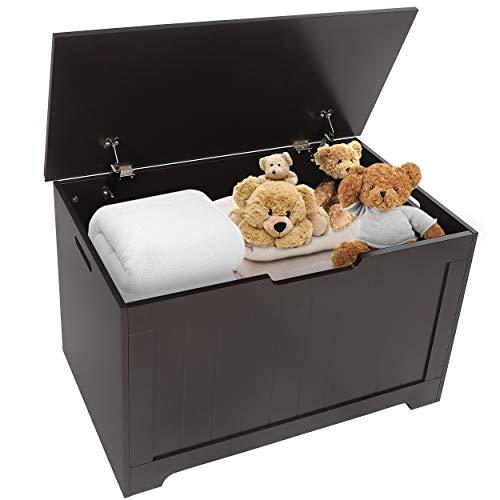 SUPER DEAL Wooden Modern Toy Box Kids Toy Box 30 in. Wide Toy Chest Blanket Storage Chest Trunk Box Bench in Dark Chestnut Brown