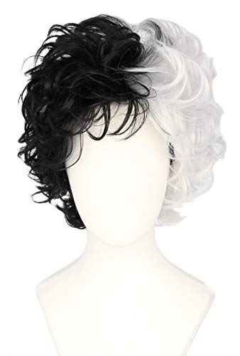 Topcosplay Cruella Devil Wig for Women and Girls Short Black and White Wigs