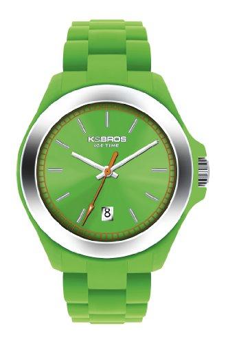 K&BROS 9549-8 / Orologio unisex con cinturino in gomma verde