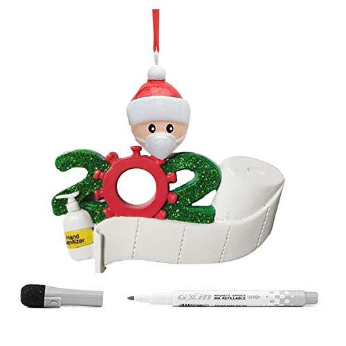XILETAO Personalized Quarantine Christmas Ornament 2020 with Maker Pen, Quarantined Survivor Toilet Paper Xmas Tree Decorations Decor 2020 Pandemic (Best Friend)