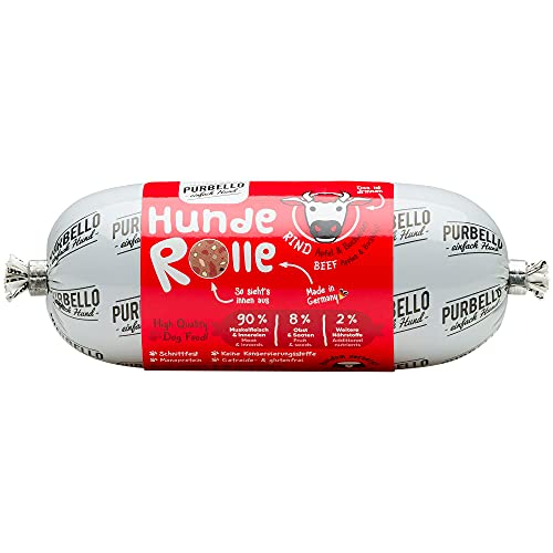 PURBELLO Hunde-Rolle Rind mit Äpfeln & Buchweizen - Monoprotein Hundefutter mit hohem Fleischanteil - Nassfutter für Hunde - Hundewurst schnittfest & getreidefrei - 8 x 200 g