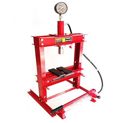 Steel H-Frame Bench Top Mount Hydraulic Shop Press with Separate Hydraulic Pump, 10-Ton Bench Top Plates Frame Jack Stand with Gauge,178mm Stroke,Max Height 375mm (Red)