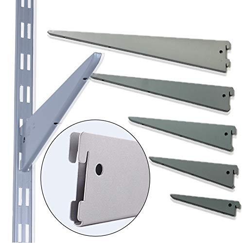PRIOstahl® REGALTRÄGER FÜR WANDSCHIENEN| 10 TRÄGER | 370 mm | 2-reihig | Weiß |Regalsystem Regalhalter Regal Regalwinkel Regalbodenträger Metall