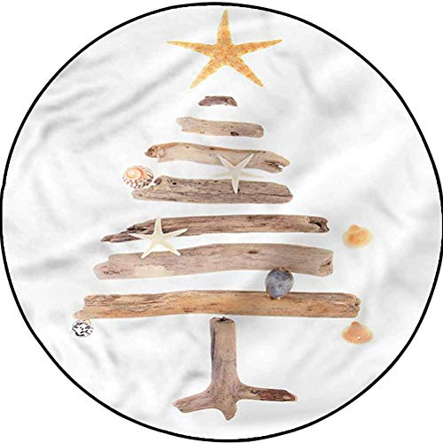 Christmas Machine Washable Round Area Rug Suitable for Bathroom Kitchen Driftwood Tree Nautical Diameter 23.6 in(60cm)