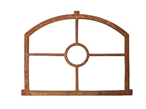 Fenêtre ornementale demi-lune pouvant s´ouvrir style antique fer//rouille 74 x 40