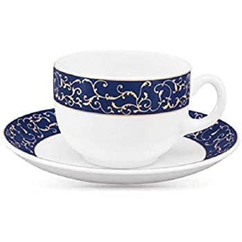 LaOpala Glass Cup And Saucer - 6 Pieces, White