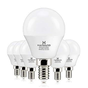 6 watt 60w Equivalent  hansang LED Bulbs Light E12 Screw Base Candelabra Round Bulb 600 Lumen,High CRI,Daylight 5000K,G14 Decorative Bulb Non dimmable for Ceiling Fan 120V Pack of 6  Daylight 5000K