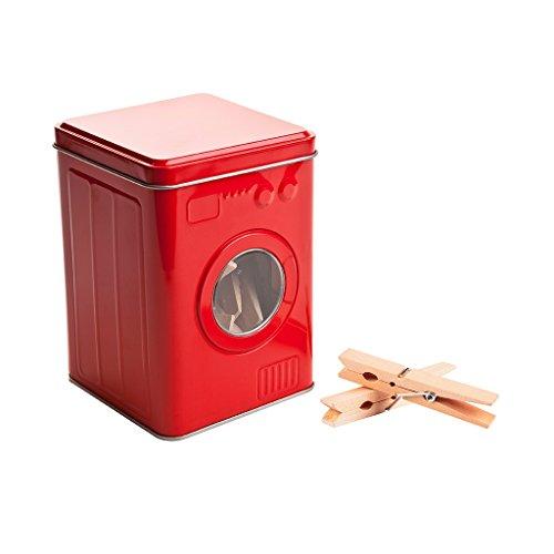 Balvi Scatola mollette Lavatrice Colore Rosso 24 pinze di Legno Scatola con Forma di Lavatrice Latta